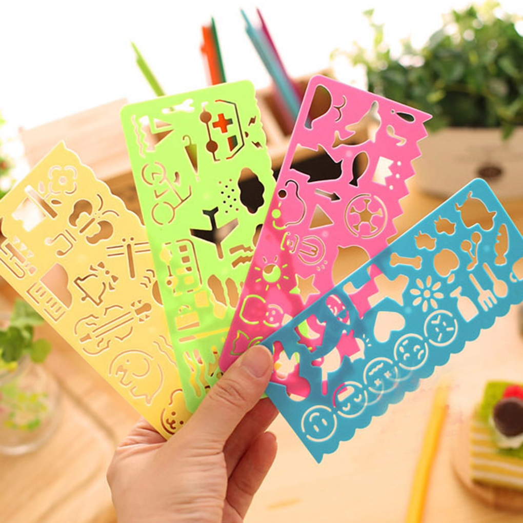 4pcs Stationery Cartoon Cute Manual Board Ruler Child Painting Template Drawing DIY Tools Stencil Art Graphics Symbols Drafting