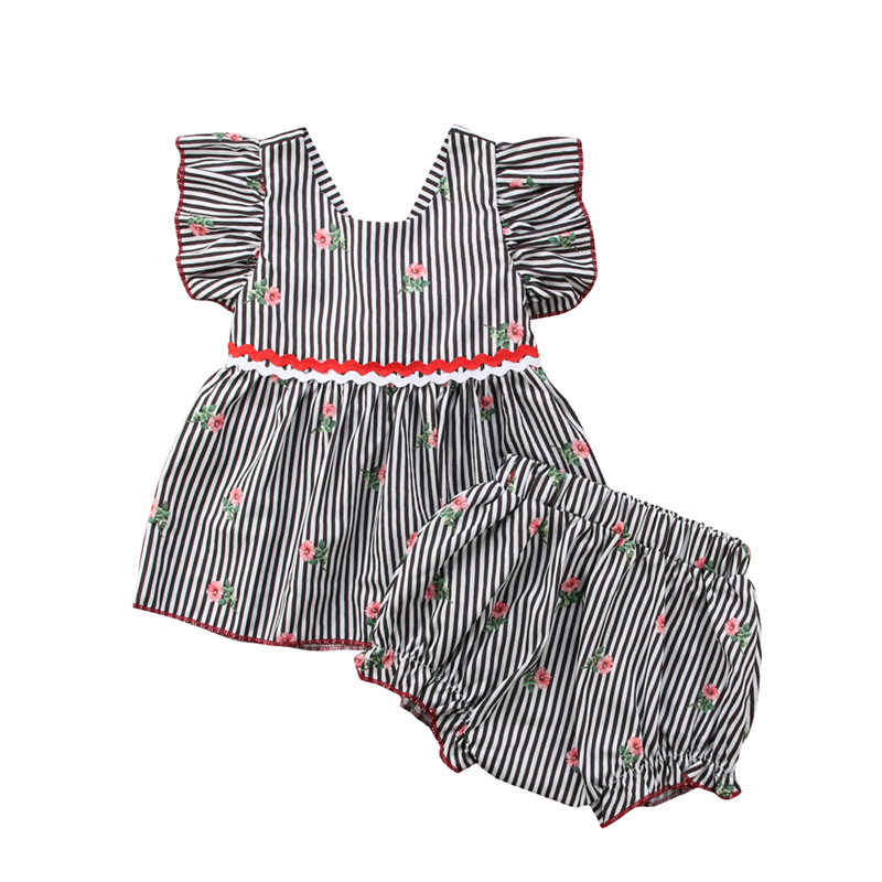 Toddler Kids Baby Girl Princess Sunsuit Clothing Sets Newborn Girls Floral Striped Tops T shirt Dress Briefs Shorts 2Pcs cLOTHES infant toddler kids baby girls summer outfit cotton striped sleeveless tops dress floral short pants girls clothes sunsuit 0 4y