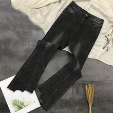 2019 New Fashion Women High Waist Boot Jeans Plus Size L-4XL Casual Denim Pants Dark Black Slim Long Pants Femme A054(China)