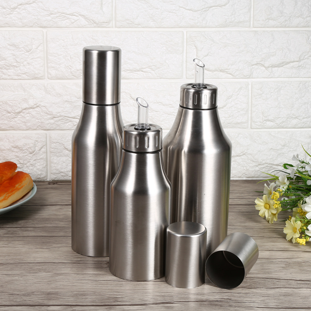stainless steel oil pot can drizzling oil vinegar dispenser kitchen accessories cooking tools. Black Bedroom Furniture Sets. Home Design Ideas