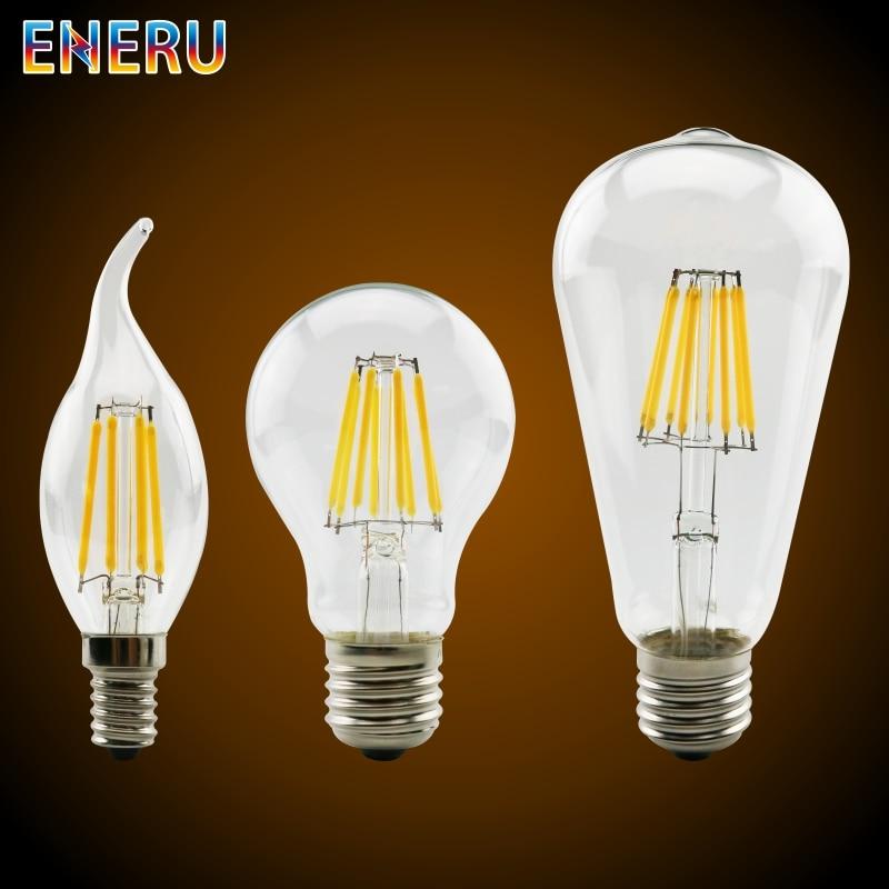 LED Filament Bulb E27 E14 Retro Edison Lamp 220V-240V Light Bulb C35 G45 A60 ST64 G80 G95 G125 Glass Bulb Vintage Candle Light