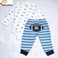 Bebés Meninos Meninas bodysuits + Calças pp, 2 pcs conjuntos de futebol padrão 100% Algodão Recém-Nascido 24 m Roupas garoto Define, frete grátis
