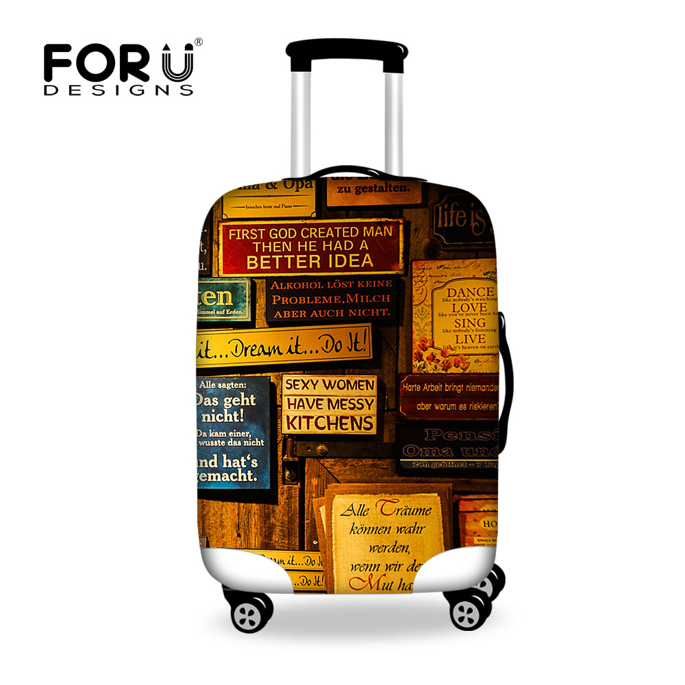 FORUDESIGNS Vintage Travel Luggage Protective Cover For 18-30 Inch Trunk Case Elastic Waterproof Suitcase Cover Stretch Luggage
