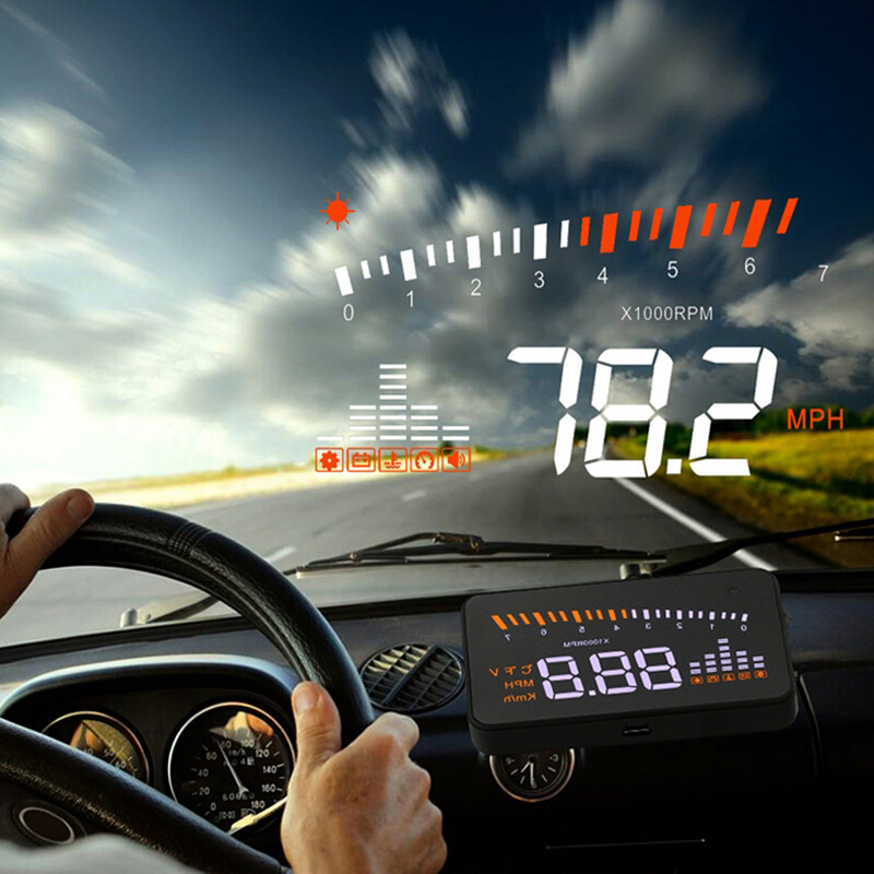 X5 Car HUD Head Up Display OBD II EOBD Automatic Matching Overspeed Warning System Projector Windshield Car Voltage Speed Alarm