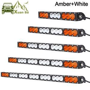 Single Row Slim 10W/Pcs LED Work Light Bar For Truck Atv Uaz 4x4 Offroad Trailer Combo Beam Amber White Warning Barra Fog Lights(China)