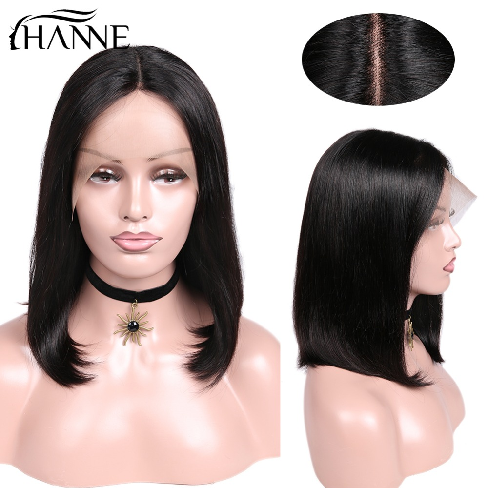 HANNE Hair Lace Front Human Hair Wigs Bob Wig Remy Straight Brazilian Hair Natural Color Short Wig 12-14 Inch Wig