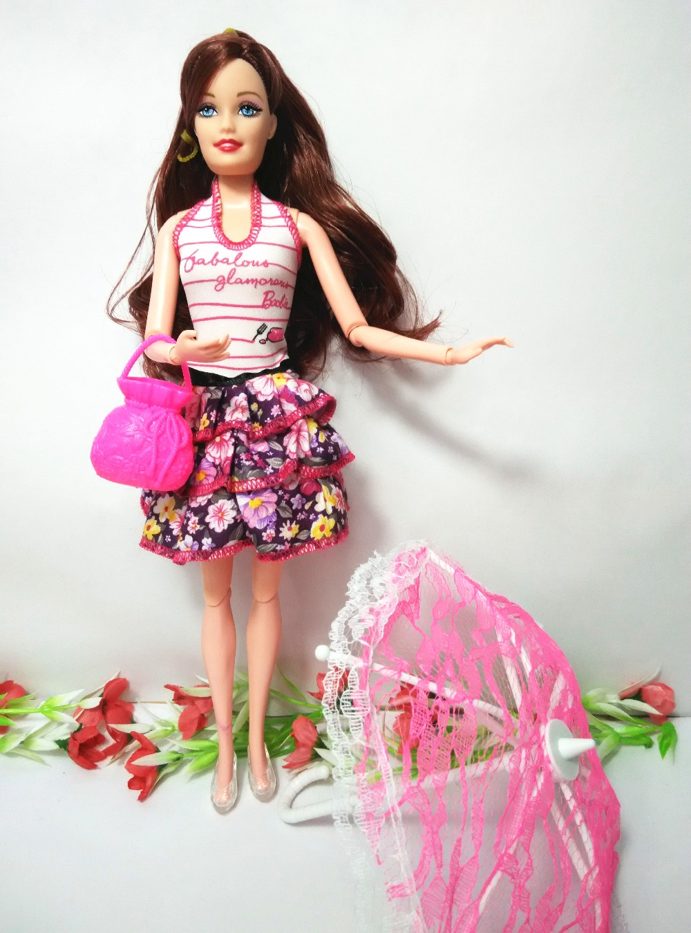 (Fashion Barbie Doll + bag + Toy umbrella) Dolls Model Style Moveable Joint Body Classic Toys Best Gift Accessories For Barbie