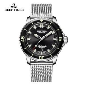 Image 4 - Reef Tiger/RT Top Brand Mens Mechanical Dive Watches Sapphire Crystal Bracelet Watches Blue Luminous Watch Waterproof RGA3035