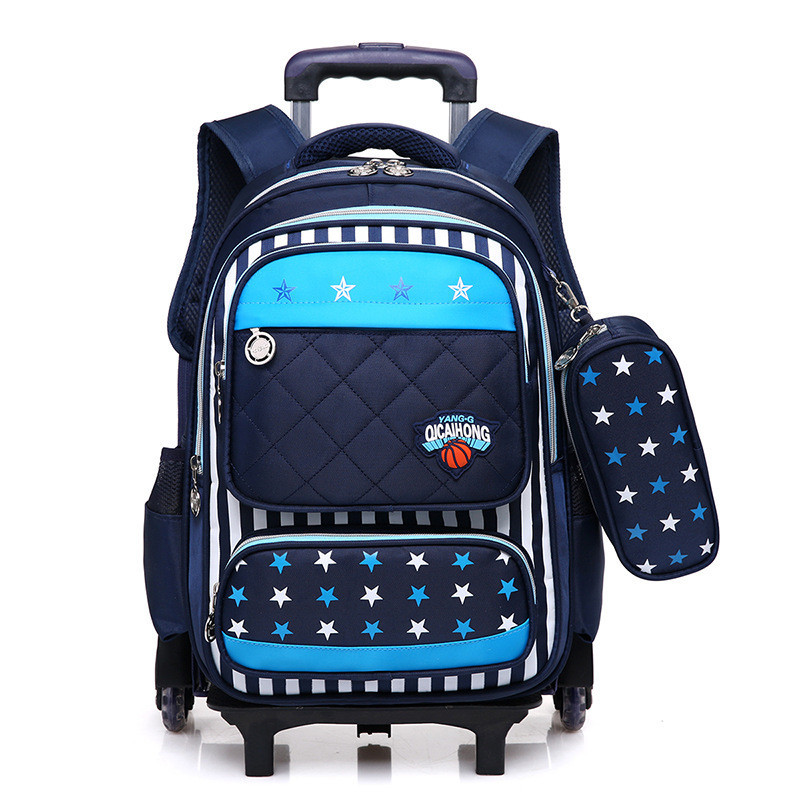 Kids 2 6 Wheels Removable Trolley Backpack Wheeled Bags Children School Bag for Boys Girls Travel