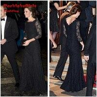 Kaftan Black Lace Long Sleeve 2016 Mermaid Arabic Style Kate Middleton Muslim Formal Evening Gowns Dress