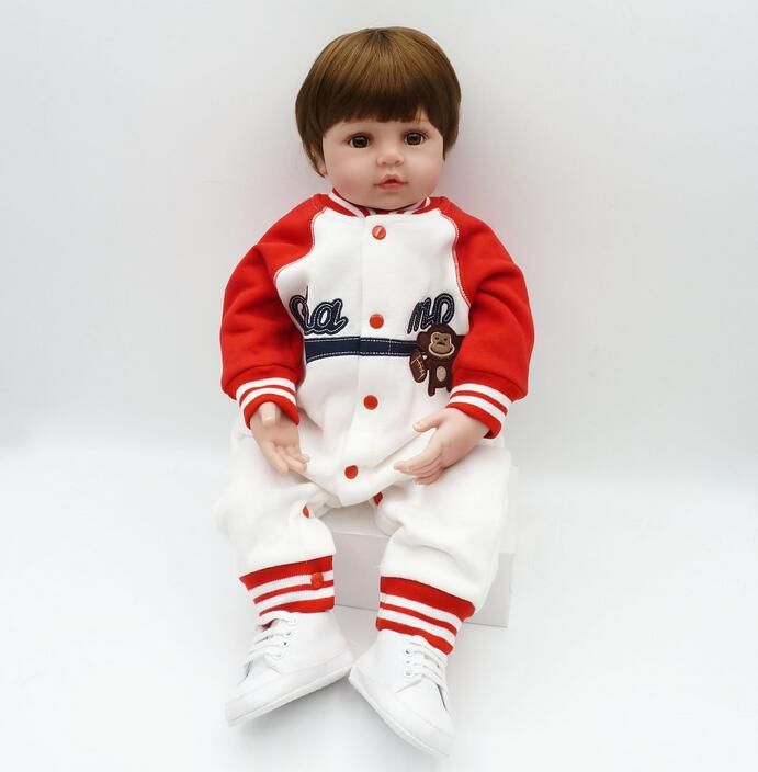 купить 55cm Silicone Reborn Baby Doll Toys Lifelike Vinyl Toddler Sport Boy Girl Babies Dolls Baby Toys Play House Bedtime Toy по цене 5275.25 рублей
