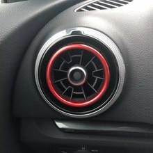 Алюминий сплав воздуха на выходе хромированной отделкой КОЛЬЦО приборной панели автомобиля A/C вентиляционные отверстия крышки наклейки для украшения Audi A3 s3 2013-2016 Q2 2017