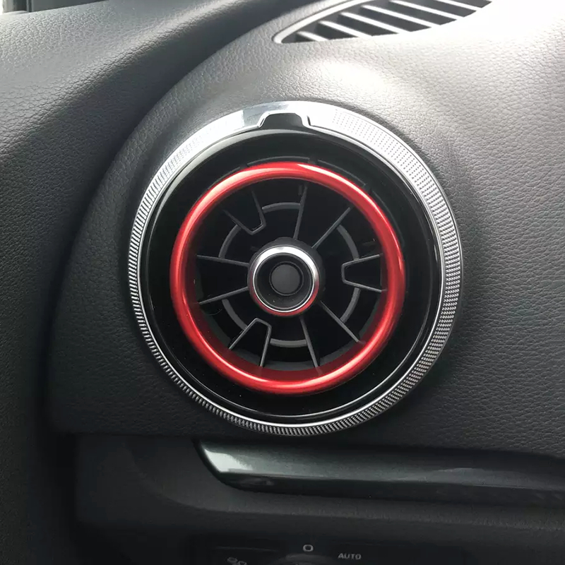 En alliage d'aluminium air outlet chrome anneau de garniture de voiture tableau de bord A/C air évents couverture autocollant décoration pour Audi A3 S3 2013-2016 Q2 2017