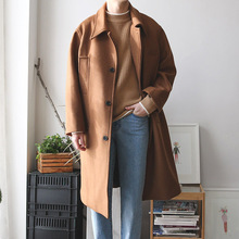 Abrigo informal de mezcla de lana para hombre, chaqueta de cachemir largo de estilo coreano, abrigos de un solo pecho para hombre