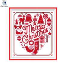 Cross-Stitch-Kits Joy-Sunday Embroidery Fabric Merry-Christmas Canvas Needlework Counted