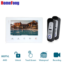 HomeFong 7 Office/Home Door Phone Touch Key 7 inch LCD Video With Wired Doorphone IR Door Camera Exit and Entry Intercom