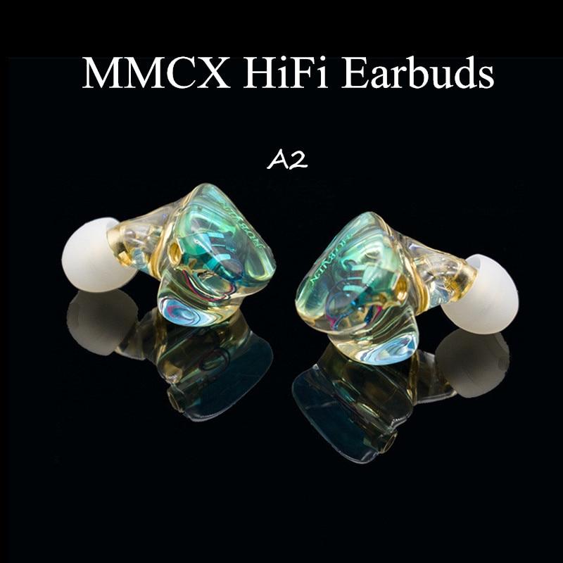 A2 MMCX Dynamic Resin Earbuds Compound Diaphragm Hifi Earphone Stereo Monitor DJ Headset Custom Made Ear Bud 3D Print Headphones