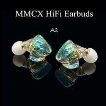 Fones de ouvido de resina a2 mmcx 2pin, fones de ouvido iem hi-fi com composto diafragma, monitor dinâmico para os ouvidos, headphone, feito sob encomenda