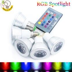 E27 E14 светодиодсветодиодный волшебная лампа с 16 изменяющимися цветами RGB 85-265 в 110 в 120 в 220 В RGB светодиодсветильник освещение точечное освещен...