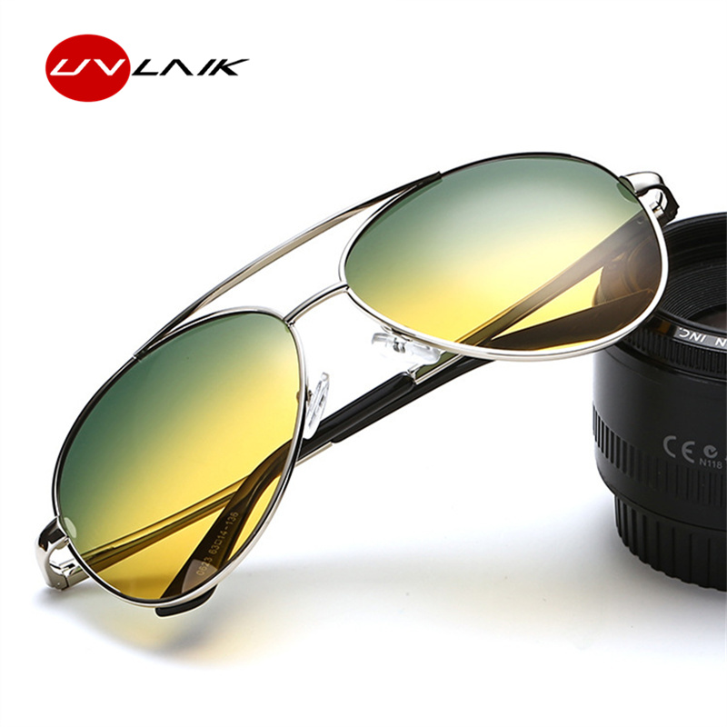 UVLAIK Day Night Vision Goggles Sunglasses for Men Car Driving Glasses Yellow Anti-glare Alloy Frame Driver Glasses