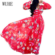 WUHE Women Casual Bohemian Red Floral Printed Beach Chiffon Dress Sexy Deep V Neck Long Sleeve Maxi Dresses Femme Robe De Plage