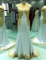 Muslim Arabic Long Evening Dress Mermaid 2018 High Neck Beaded Cap Sleeves Gold Embroidery White Women Formal Prom Evening Gowns