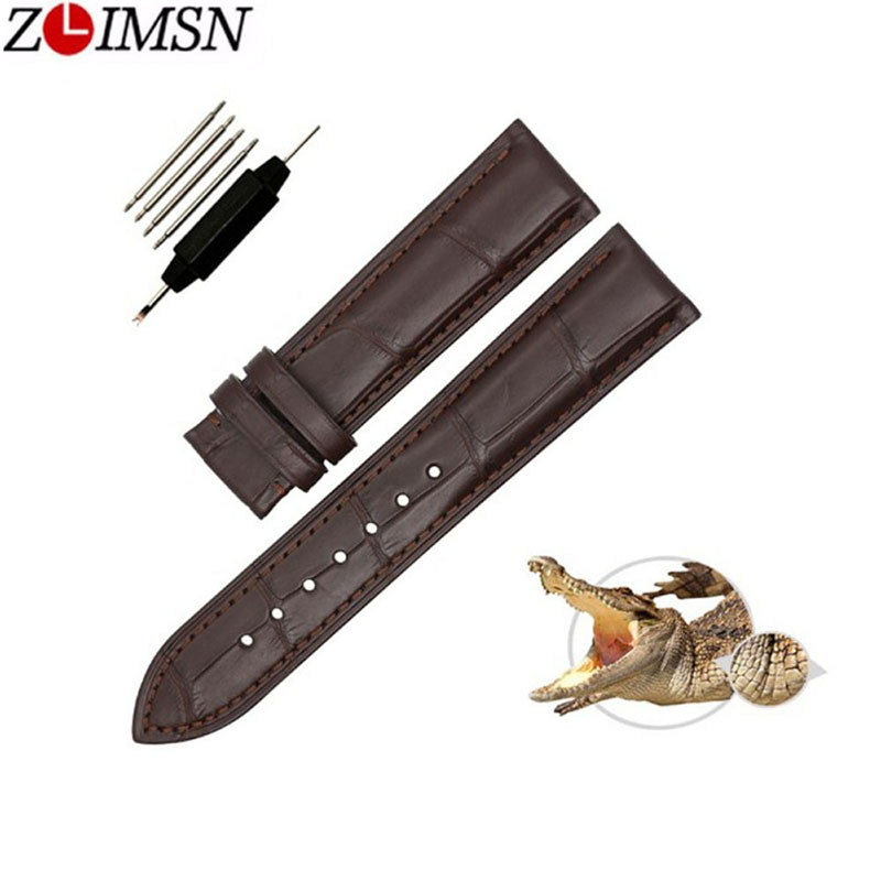 ZLIMSN Business Casual Bamboo Pattern Road Crocodile Genuine Leather Strap Black Brown 12mm 14mm 16mm 19mm