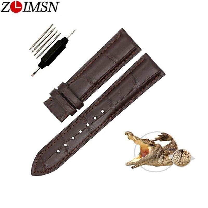 ZLIMSN Business décontracté motif bambou route Crocodile véritable bracelet en cuir noir marron 12mm 14mm 16mm 19mm 20mm 22mm fait à la main