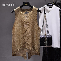 Cakucool Women Gold Lurex Knit Tank Camis Top Sexy Hollow Out Camisole O Neck Holes Bling