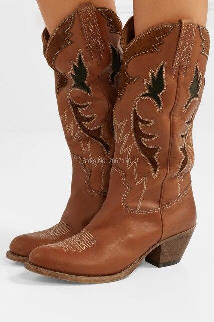 7b68e231d8 2018 botas de vaquero de estilo Retro de invierno para mujer Botines a la  altura de