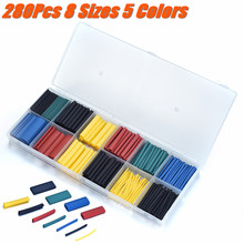 Wholesale 280Pcs 8 Sizes 5 Colors PE 2:1 Heat Shrink Tube Car Wrap Sleeve Heat Shrink Tubing Electrical Insulation Cable Tube