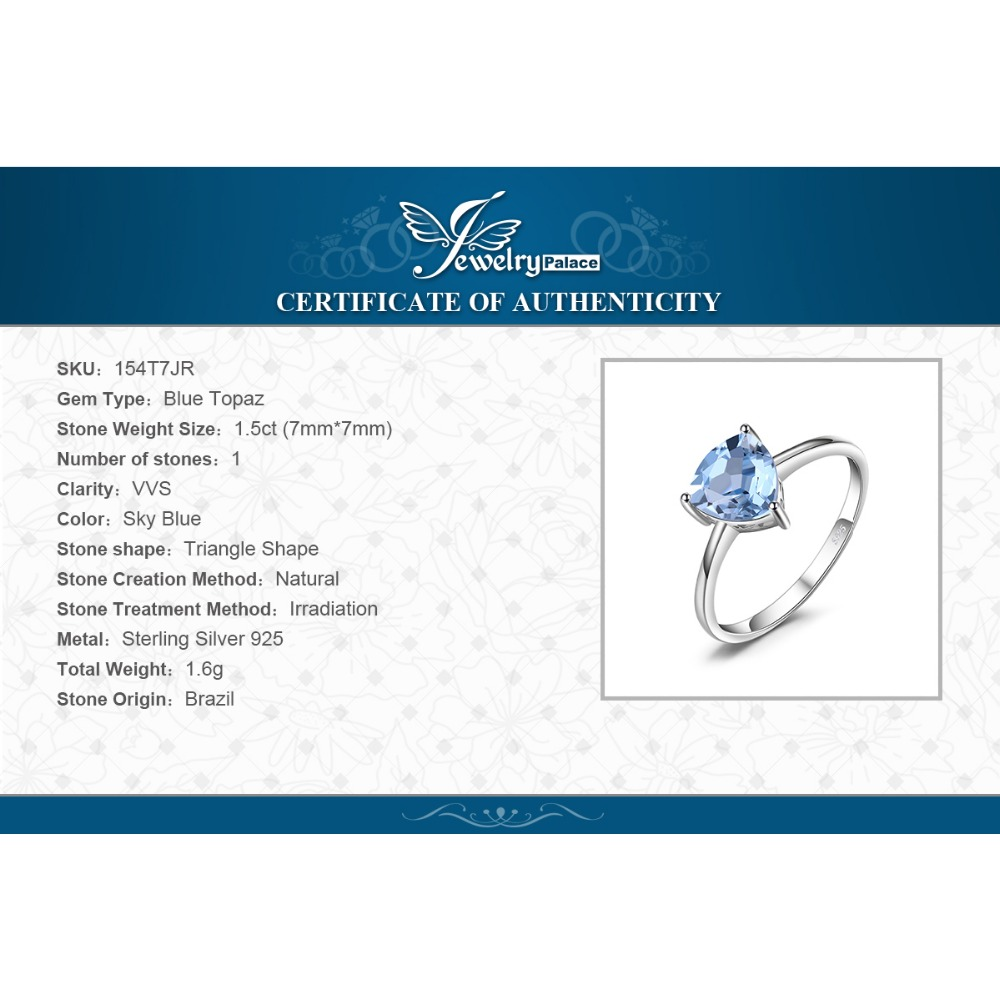 Image 5 - JewelryPalace Genuine Blue Topaz Ring Solitaire 925 Sterling Silver Rings for Women Engagement Ring Silver 925 Gemstones Jewelry-in Rings from Jewelry & Accessories