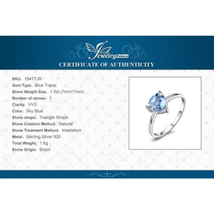Image 5 - JewelryPalace Genuine Blue Topaz Ring Solitaire 925 Sterling Silver Rings for Women Engagement Ring Silver 925 Gemstones Jewelry