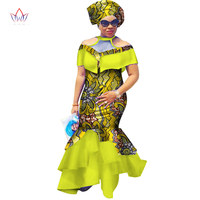 BRW 2017 New African Dresses For Women Dashiki Cloak Sleeves Africa Clothing Plus Size Patchwork Party