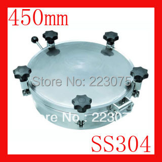 New arrival 450mm SS304 Circular manhole cover with pressure Round tank manway door Height:100mm Hatch new arrival 450mm ss304 circular manhole cover without pressure height 100mm tank hatch