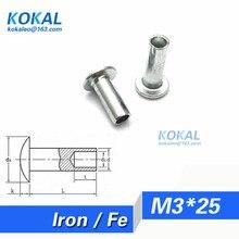 [Fe-m3* 25] 100 шт. высокого качества двери, окна ролик и оборудования заклепки полые M3 серии заклепки M3* 25 мм