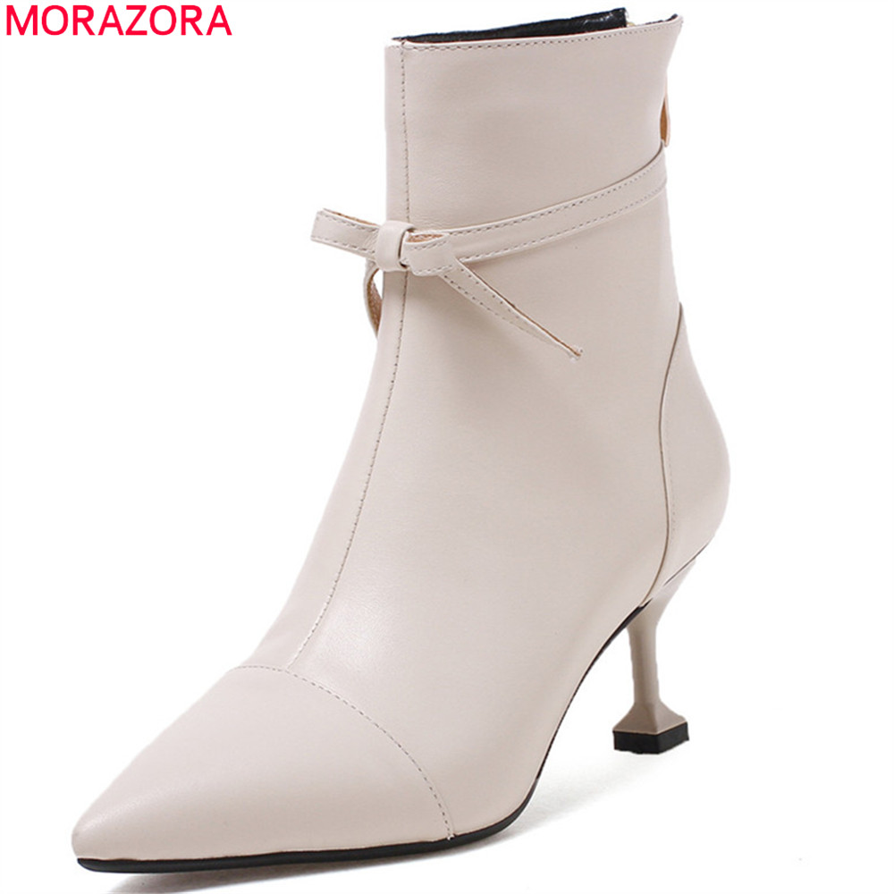 MORAZORA 2018 fashion new arrive women boots pointed toe ladies genuine leather boots zipper cow leather ankle boots black asumer 2018 hot sale new arrive women boots fashion zipper black genuine leather pointed toe ladies boots simple mid calf boots
