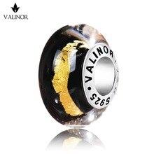 Золотой Avenue вырезать стеклянные бусины Подвески стерлингового серебра 925 Fit Браслеты для Для женщин jewelry GCLL042-1