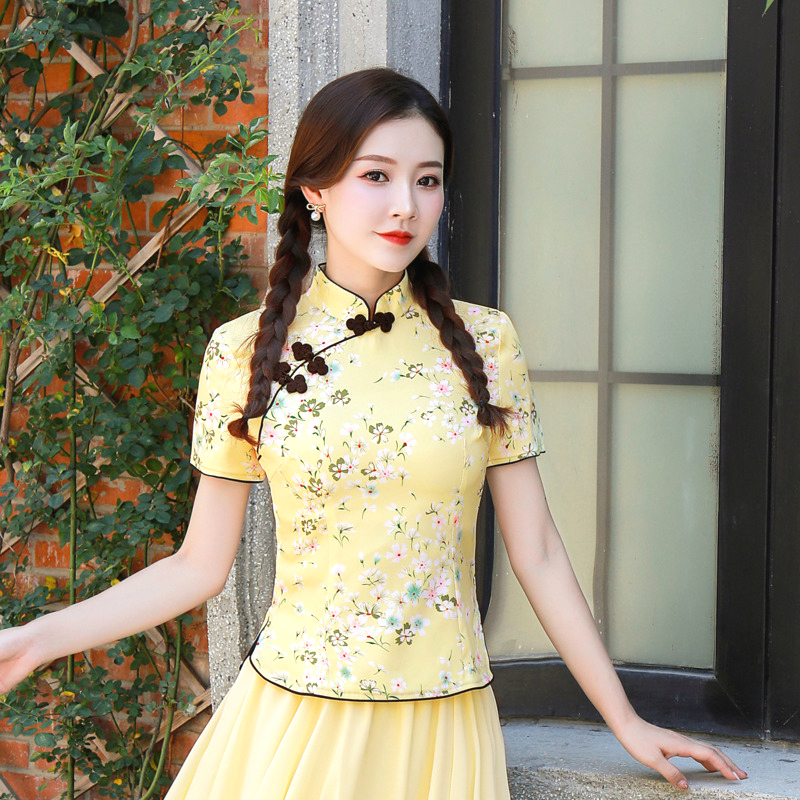 Sheng Coco 3XL 4XL Cherry Blossoms Shirts Cheongsam Blouse Yellow Printing Flower Elegant Classic Woman Qipao Tops Chinese Style