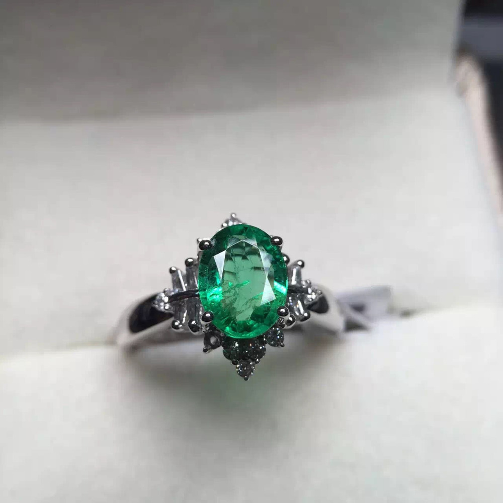 6*8mm 1.2ct gold 2.36g gold weight 3.68g fine jewelry perfect 18k gold perfect highest grade green emerald ring wedding ring