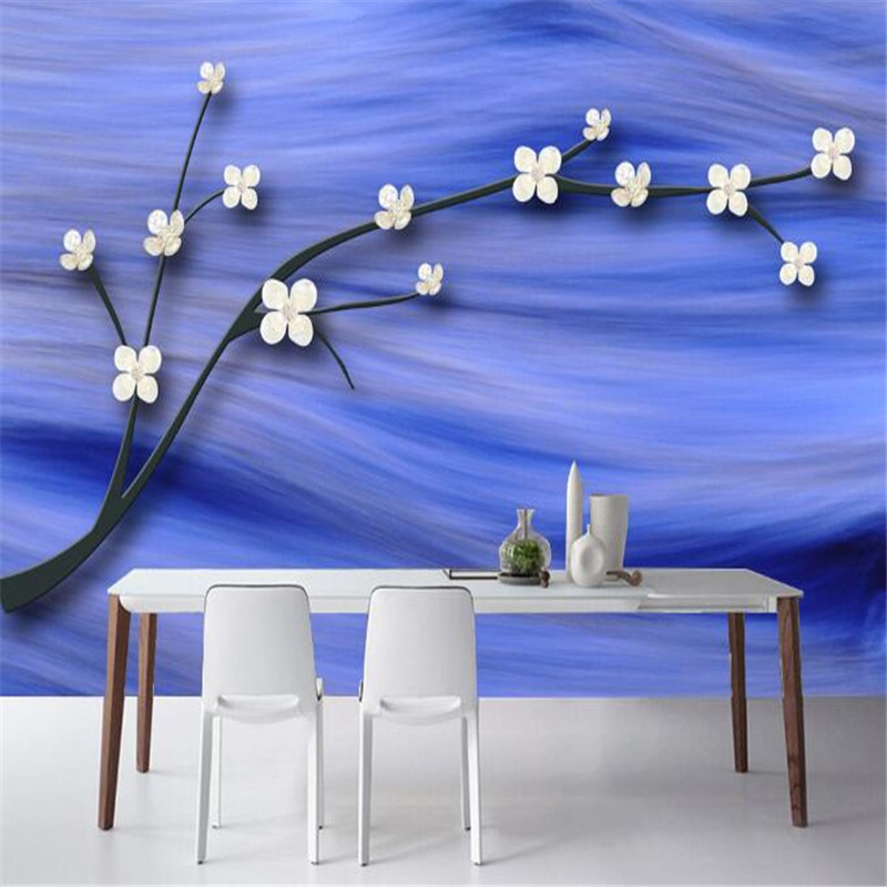 3D Wall Paper for Walls Vintage Blue Non-Woven Wallpapers Luxury Plum Blossom Mural Living Room Decorative Wallpaper TV Art Wall 3d wall paper for walls vintage brick non woven wallpapers stone pattern mural living room decorative wallpapers dark brown