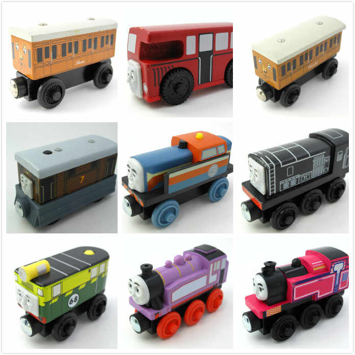 Multi Syles Wooden Train Magnetic Truck Car Locomotive Engine Railway Toys for Children