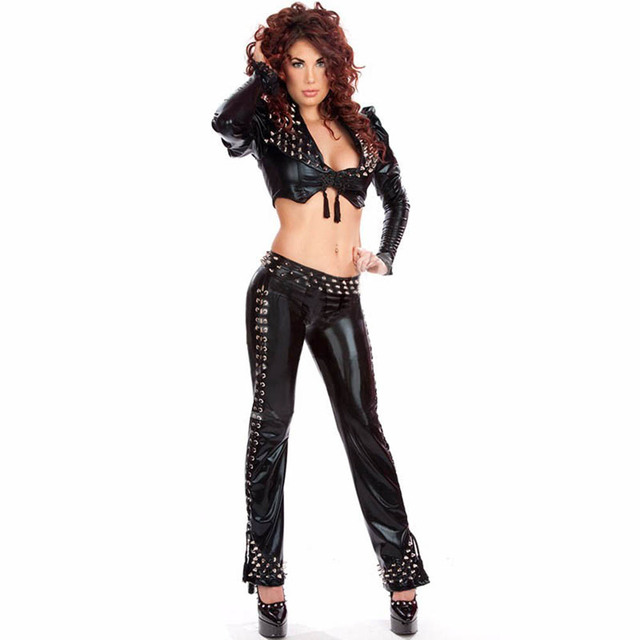 Steampunk Clothing Sexy Women's Cothic Punk Long Sleeve Rivet Crop Tops And Pants Black Night Club Style Leather Lingerie Sets