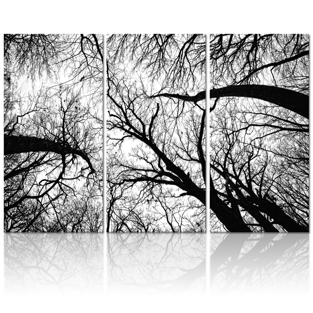 Black and white tree forest painting canvas wall art for Black and white forest wall mural