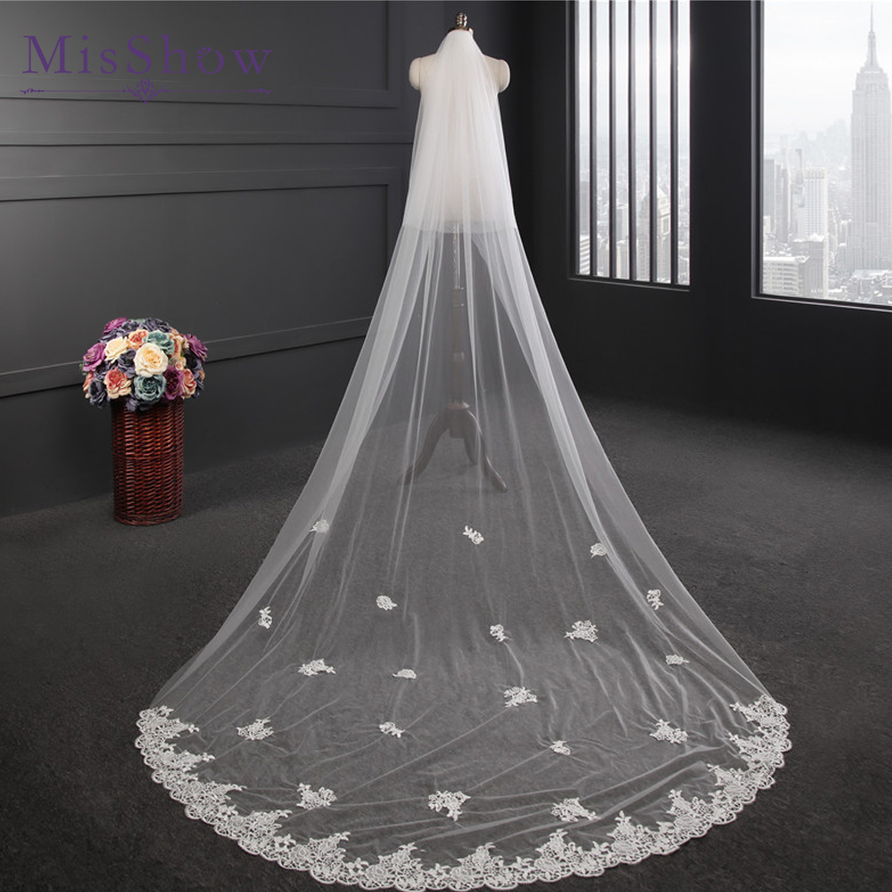 2019 New Design Wedding Veil 3 Meters Long Applique Lace Bridal Veils With Comb One-layer Ivory White Bride Wedding Accessories