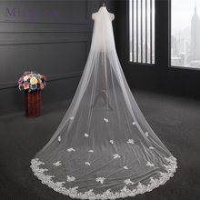 2017 New Design Wedding Veil 3 Meters Long Applique Lace Bridal Veils With Comb One-layer Ivory White Bride Accessories