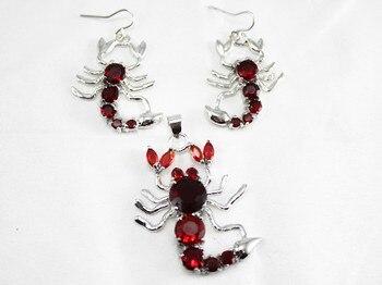 Prett Lovely Women's Wedding fashion crystal jewelry Jewellery Red Crystal Scorpion earrings &pendant