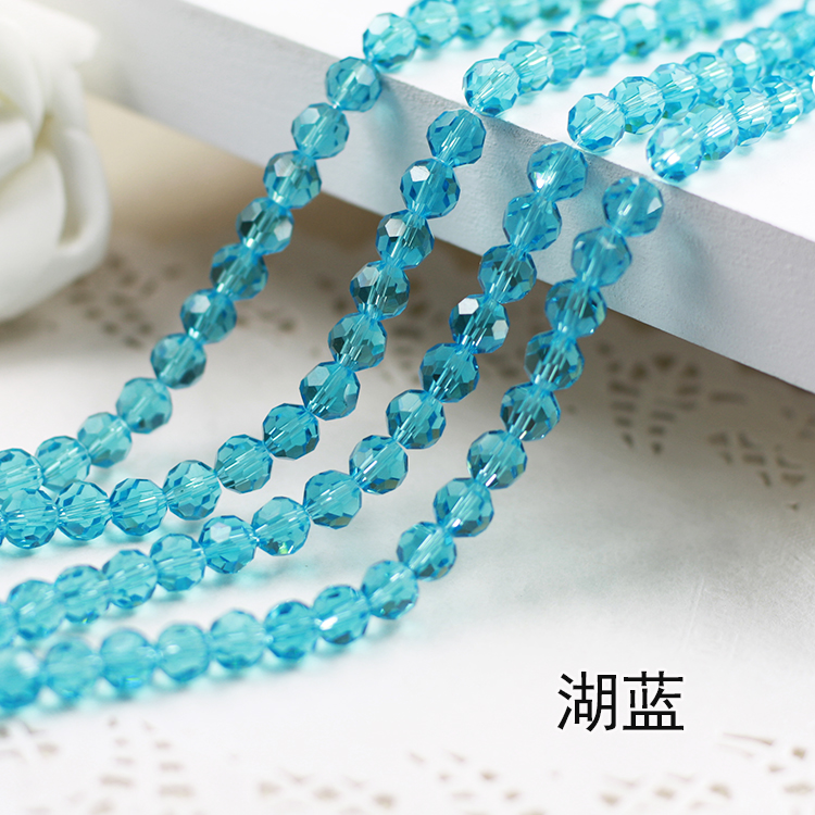Wholesale~Aquamarine Color 5000# Crystal Glass Beads Loose Round Stones Spacer for Jewelry Garment.4mm 6mm 8mm 10mm ss16 3 8 4 0mm aquamarine color 10gross lot pointed back chaton rhinestone for jewelry accessory free shipping