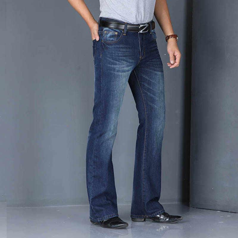 Modis Pantalones Vaqueros De Cintura Alta Para Hombre Vaqueros Con Corte De Bota Acampanados Holgados De Disenador Clasico 2020 Pantalones Vaqueros Aliexpress