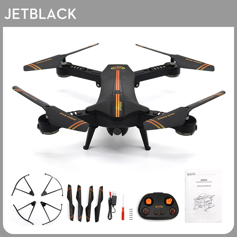 Jetblack Selfie Foldable Drone Quadcopter Helicopter Frame Compact Smart FPV Drones with HD Camera Portable Photography Video